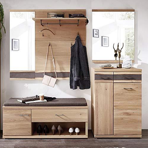 Lomadox Landhaus Garderoben Flurmöbel Set Wildeiche massiv, mit Baumkantenprofil, montierte Möbel