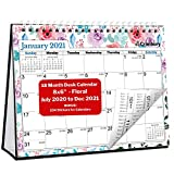 CRANBURY Mini Desk Calendar 2020-2021 - (Floral, 8x6'), Cute Desktop Standing Flip Monthly Calendar on Easel, Use Now to December 2021 as Academic Calendar 2020-2021 and Full Year 2021 Calendar