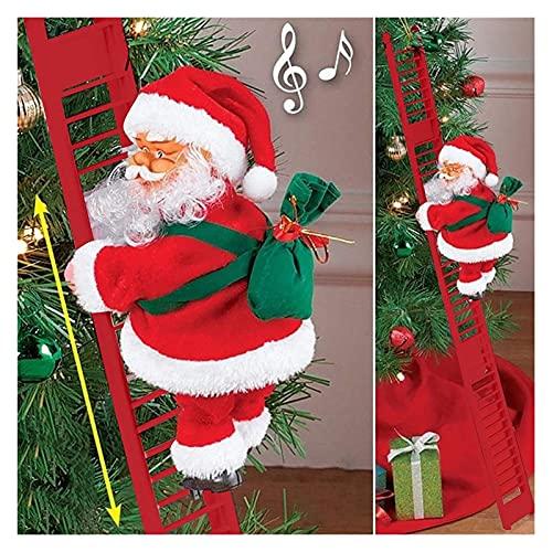 GDYJP Escalera de Escalada de Santa, Decoraciones eléctricas de Escalada de Santa Claus, Pueblo de Navidad Escalada de Peluche de Peluche, for Colgar árbol de Ornamento decoración al Aire Libre