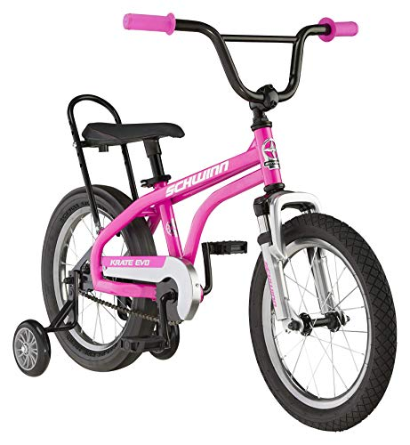 Schwinn Krate Evo Classic Kids Bike, 16-Inch Wheels, Boys and Girls Ages 3-5 Years, Removable Training Wheels, Coaster Brakes, Raspberry