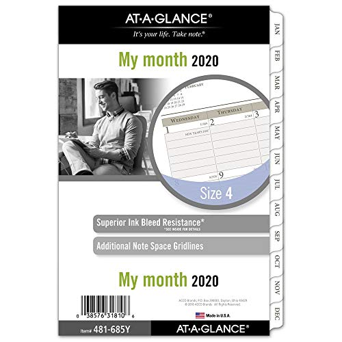 AT-A-GLANCE 2020 Monthly Planner Refill, Day Runner, 5-1/2