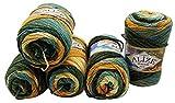 5 x 100 Gramm Alize Burcum Batik Wolle mehrfarbig mit Farbverlauf, 500 Gramm Strickwolle (grün ocker creme 7099)