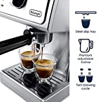 """De'longhi bar pump espresso and cappuccino machine, 15"""", stainless steel 14 15 bar professional pressure assures quality results every time second tier drip tray to accommodate larger cups removable 37 ounce water tank. Full stainless steel housing"""