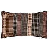 VHC Brands Rustic Beckham Cotton Hand Quilted Patchwork Striped King Bedding Accessory, Sham 21x37, Rust Red