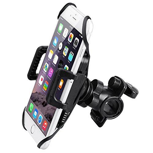 MMOBIEL Universal Smartphone MountHolder Secure Grip Bike Motorcycle Handlebar Cradle Incl Clip and Silicone Belt
