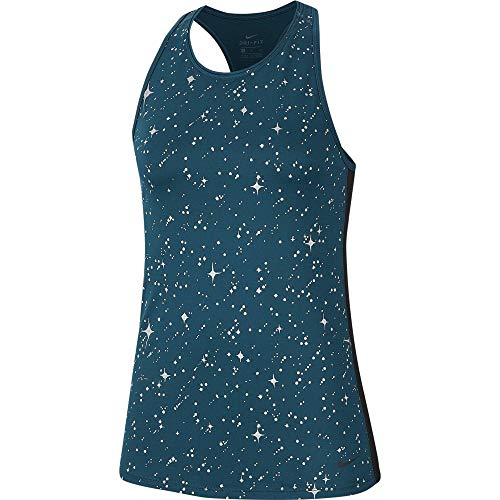 NIKE Camiseta de Tirantes para Mujer Starry Night Metallic, Mujer, Camiseta de Tirantes Anchos, CJ0476, Midnight Turq, Medium