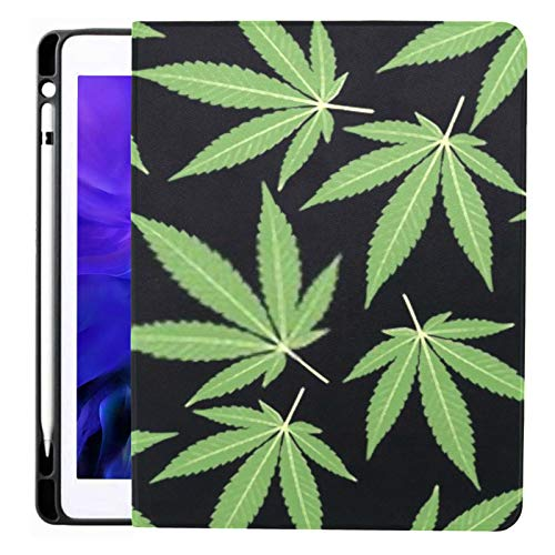 Ipad Pro 12.9 Case 2020 & 2018 with Pencil Holder Seamless Repeating Pattern Marijuana Leaves Two Smart Cover Ipad Case, Supports 2nd Gen Pencil Charging,case for 2020 Ipad Pro 12.9 Cover with Auto S