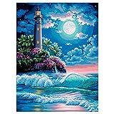 Kits de pintura de diamante 5d Faro de la playa Moonlight Diamante Pintura por Número Kit,Bordado de Punto de Cruz Artes Manualidades Lienzo Pared Decoración30x40 cm(Sin marco)