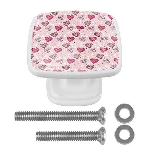 [4 unidades] Pomo vintage de metal para armario o cajón, diseño de corazones, color rosa