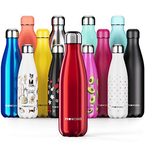 Proworks Botellas de Agua Deportiva de Acero Inoxidable | Cantimplora Termo con Doble Aislamiento para 12 Horas de Bebida Caliente y 24 Horas de Bebida Fría - Libre de BPA - 500ml – Rojo Metalizado