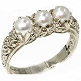 925 Sterling Silver Cultured Pearl Womens Trilogy Ring - Sizes J to Z Available including half sizes