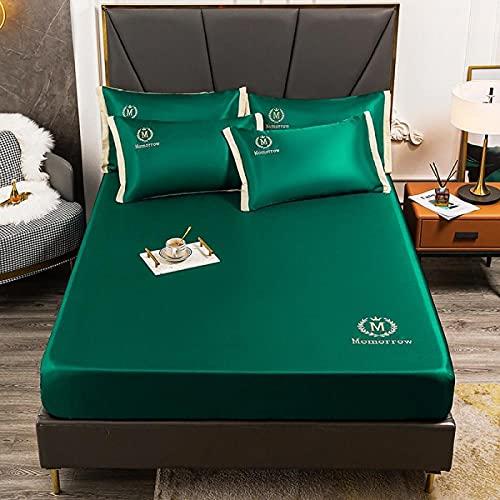 YFGY Sábana Ajustable Sábana Ajustable de satén de Lujo Individual de 120 * 200 cm con Funda de Almohada Color sólido, Funda de colchón para Dormitorio de Hotel para Adultos Verde Oscuro 1
