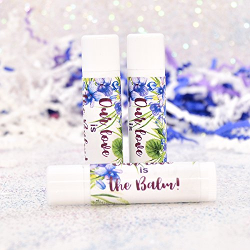 30 Violet Floral Party Favor Labels, Our Love is Balm Stickers, Floral Lip Balm Labels