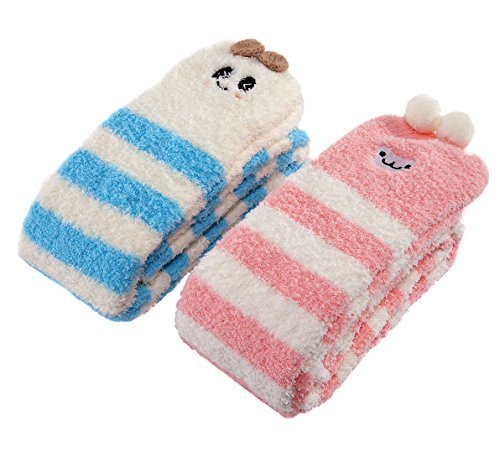 LittleForBig Cute Animal Coral Fleece Thigh High Long Striped Socks 2 Pairs (Pink-Blue)