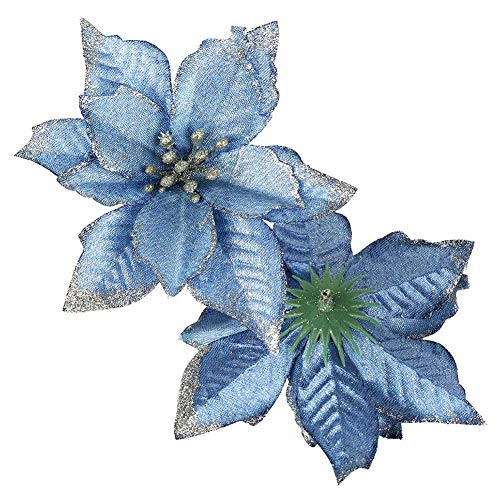 Domybest 10pcs Artificial Christmas Flower for Poinsettia Christmas Tree Artificial Glitter Ornaments for Christmas Garland 13 cm