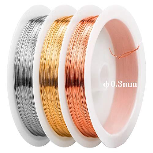 3 Rotoli Filo di Rame per Gioielli 0,3 mm Filo Metallico Artigianale in Argento/Oro/Oro Rosa per Gioielli Perline