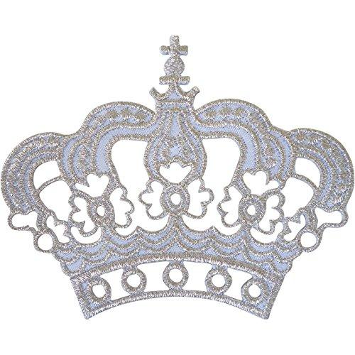 Blanco Plata Corona parche hierro Sew On King Queen