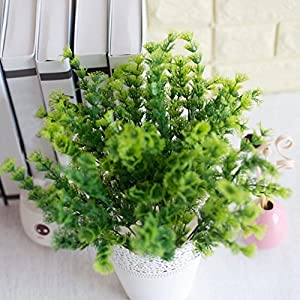 AkoMatial Artificial Fake Flowers, 1 Bouquet Artificial Mimosa Plastic Green Plant Home Office Shop Decorazione – Verde
