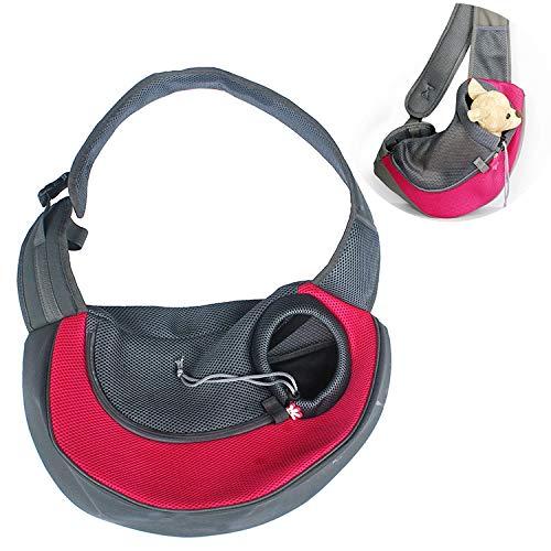 Qiuge Haustier Tasche Haustier liefert einzelne Schulter Straddle Brusthundkatze atmungsaktive tragbare Haustierbeutel, Hund und Katze Sling Carrier Handssize: klein (Color : Red)