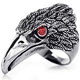 JewelryWe Schmuck Biker Herren-Ring, Edelstahl, Retro Adler Falke, Schwarz Silber Größe 66