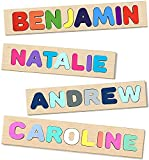 Personalized Wooden Name Puzzles for Toddlers, Kids - Choose Up to 18 Letters Custom Early Learning Toys for Baby Boy & Baby Girl - Educational Wooden Toys