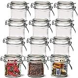 EZOWare 12 Pcs Tarros de Cristal Herméticos con Cierre de Clip, Frascos Botes con Tapa Abatible para Almacenaje y Conservar Alimentos, Especias, Uso en Cocina, Baño - 250ml