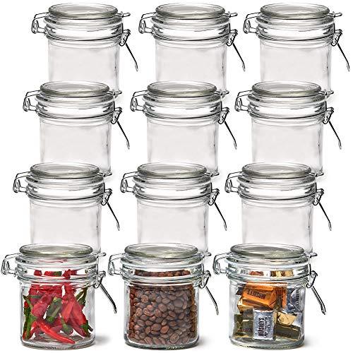 EZOWare 250ml Luftdichte Gläser mit Bügelverschluss Deckel, 12 Stück Mini Gewürzgläser Bügelgläser Vorratsglas zur Aufbewahrung von Tee Kräutern und Gewürzen