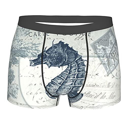 Vintage Seahorse Mens Boxers Shorts Clásicos Ropa Interior Comfort Stretch Briefs Negro