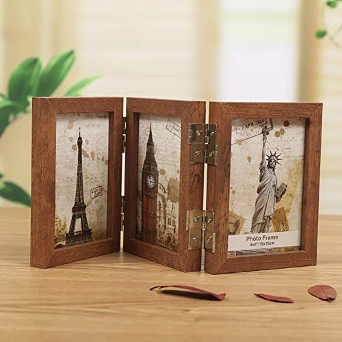 fgdjtyyj Marco de fotos de madera de tres pliegues, marco plegable de doble cara con bisagras, marco de fotos para pared Haning mesa B 9 x 13 cm