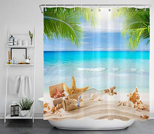 LB Cortina de ducha con diseño de océano turquesa, botella de agua en la playa, hoja de palma verde, poliéster, antimoho, cortinas de baño impermeables con ganchos, 180 x 180 cm