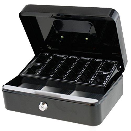 Große Geldkassette mit Münzfach + 2 Schlüssel Geldbox Geldkiste Tresor Schwarz von Smartweb