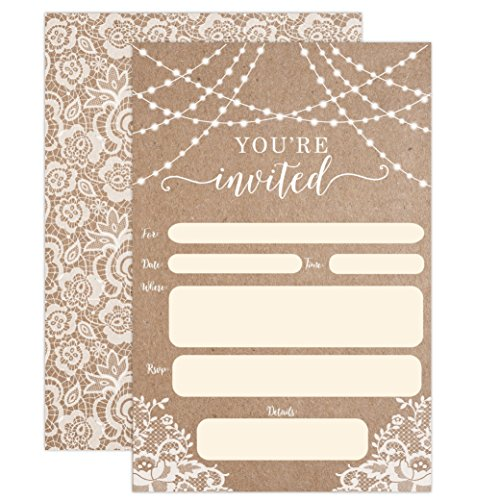 Country Kraft and Lace Invitations, Rustic Elegant Invites for Wedding Rehearsal Dinner, Bridal Shower, Engagement, Birthday, Bachelorette Party, Baby Shower, Reception, Anniversary, Housewarming