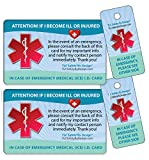 TLC Safety By Design Medical ICE Alert in Case of Emergency I.D. Identification Plastic Wallet Card and Keytag with Emergency Contact Call List Card (Qty. 2)