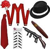 I LOVE FANCY DRESS LTD Kit DE Disfraces DE AL Capone DE 7 Piezas para Adultos Kit DE Disfraces DE GÁNGSTER DE LOS AÑOS 20 - Conjunto DE Rayas Rojas Disfraces DE GÁNGSTER (Talla ÚNICA)