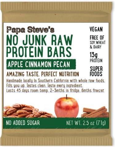 Papa Steve's No Junk Raw Protein Popular Max 47% OFF brand in the world Bars Pecan Apple 2.5 Cinnamon