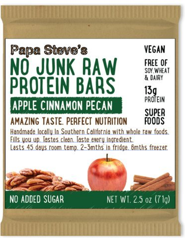 Papa Steve#039s No Junk Raw Protein Bars Apple Cinnamon Pecan 25 Oz 10 Count