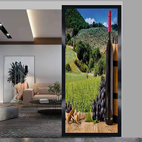 wonderr Glass Film 3D Window Sticker, Wine Idyllic Tuscany Country Landscape Agriculture Harve, Bathroom Office Meeting Room Living Room Window Membrane, W17.7xH35.4 Inch