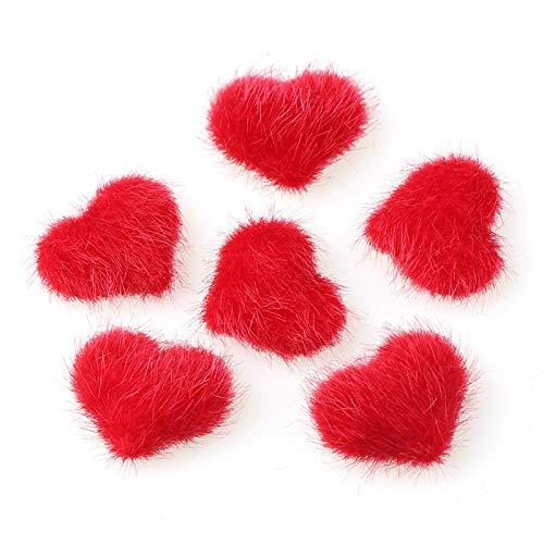 10 unids Peluche amor uñas Pom Fluffy Peluche, Poms de uñas Fluffy Lleush Ball Ball Claus 3D Pom Pom Magnetic Piel DIY desmontable, para mujeres, niñas, uñas, decoración de arte. ( Color : Red )