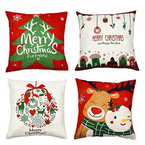 MELLIEX 4 pcs Navidad Funda Almohada, Fundas Cojines 45x45 Algodón Lino Throw Pillow Case Decorativos Fundas Navideñas para Cojines para Hogar, Oficina, Coche