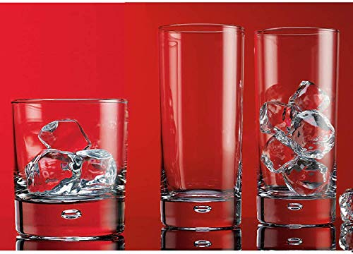 Drinking Glassware Set by Home Essentials amp Beyond– Set of 8 Tumbler and Rocks GlassesIncludes 4 Cooler Glasses 17oz and 4 Rocks Glasses 10oz – Suitable for Cocktails Whisky Juice Beer
