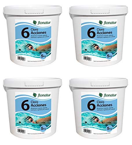 flonatur. Cloro 6 acciones multifunción (4 Cubos de 5kg) en Tableta de 200grs, Cubo de 5kg. disolución Lenta, Mantenimiento de Piscinas