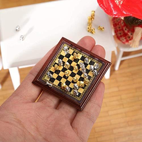 YZJL schachbrettMini Model Schachspiel 1:12 Miniaturschach Exquisite Taschenschachbrett Toy Doll House Taschenschachdekoration Zubehör Schach