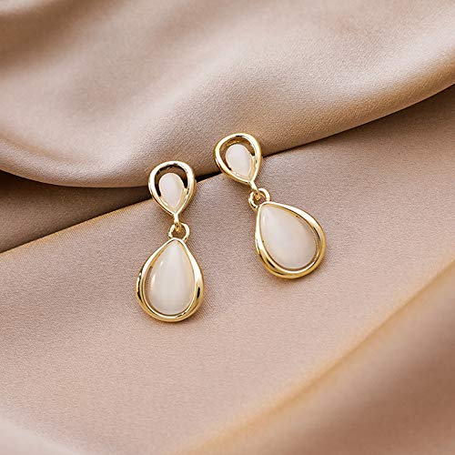 HUYV Stud Earrings For Woman,Fashion Vintage Water Drop Opal Earring Stainless Steel Stud Earrings For Summer Accessories Birthday Jewelry Gift Men Girls