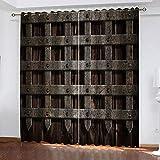 MXYHDZ Cortinas Dormitorio Opacas - Veta de Madera de Metal Vintage Impresión 3D, Decoracion de Ventanas Salon Termicas Aisantes Frio y Calor - 280 x 245 cm para Oficina, Dormitorio habitación de los