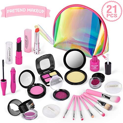 AMOYEE Makeup Set für Kinder, 21 Stück Spiel-Makeup-Set Pretend Play Makeup Kosmetisches Spielzeug Geburtstagsgeschenk für Mädchen Makeup Toy mit Glitzertasche