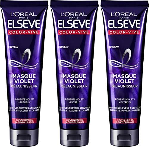 en stock thésaurisation comme une denrée rare volume grand L 'Oréal Paris elsève Color-Vive máscara violet Déjaunisseur 150 ml – juego  de 3