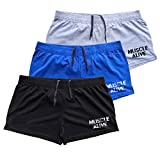 Muscle Alive Mens Bodybuilding Shorts 3' Inseam Cotton Size L Black Blue and Gray with Logo 3 Packs