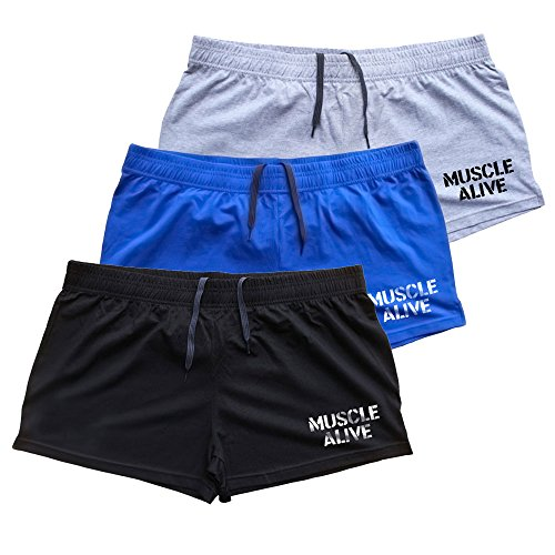 """Muscle Alive Mens Bodybuilding Shorts 3"""" Inseam Cotton Size L Black Blue and Gray with Logo 3 Packs"""