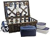HappyPicnic - Cesta de picnic de sauce con servicio de lujo para 4 personas, cesta de picnic de mimbre natural (azul marino / blanco)