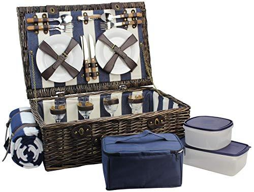 HappyPicnic Picknickkorb für 4 Personen, Picknick Set mit Kühltasche, Picknickdecke und Geschirr Set und Speisenbehälter, Weiden Geschenkkorb Set für Camping, Picknick und Outdoor Party